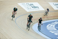 A Group of men riding on the track circuit at Lea Valley VeloPark