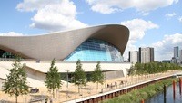 An image of outside of the London Aquatics Centre