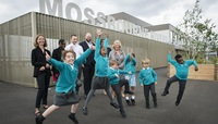 Mossbourne Riverside Academy students jumping