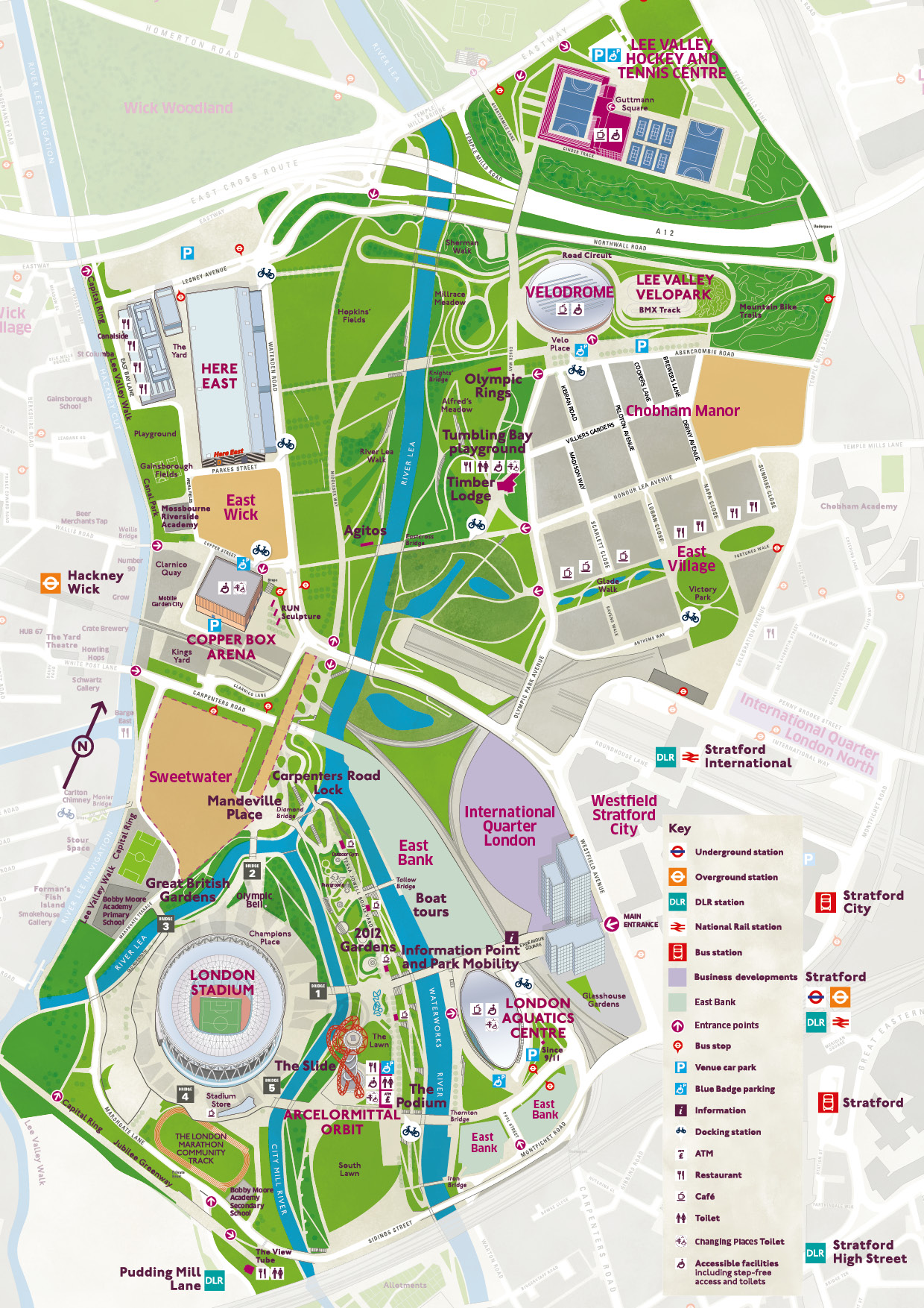 London Points Of Interest Map.Park Map Queen Elizabeth Olympic Park