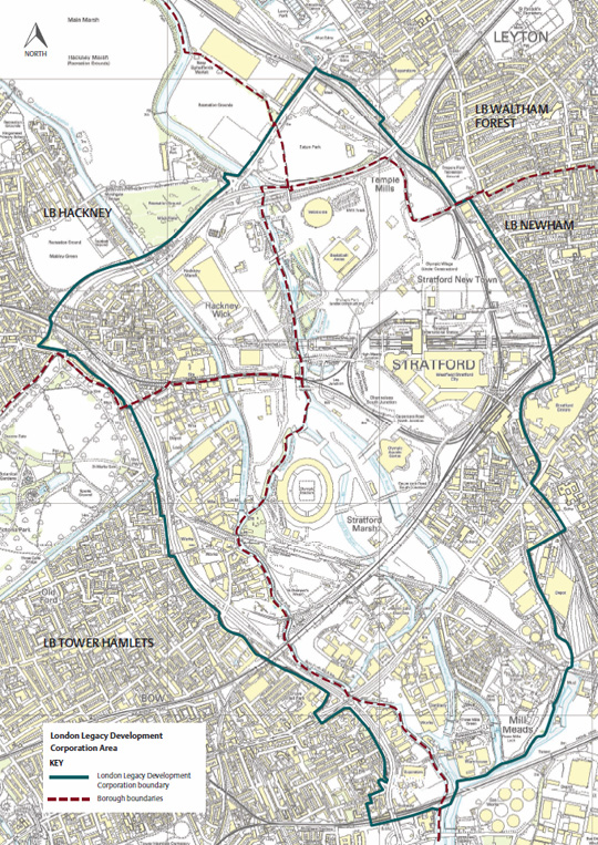 London And Surrounding Areas Map.Planning Area Map Queen Elizabeth Olympic Park