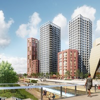 An CGI image of Stratford Waterfront Residential View