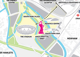 Map of park, stadium and arcelor mittal orbit