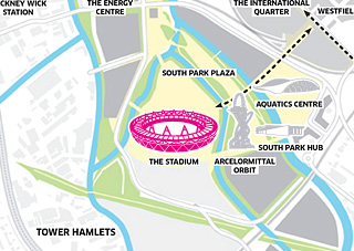 Map of park, stadium at centre